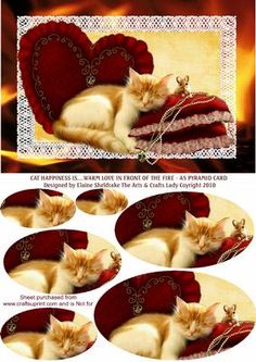 CAT HAPPINESS IS WARM LOVE IN FRONT OF THE FIRE A5 PYRAMID on Craftsuprint - Add To Basket!