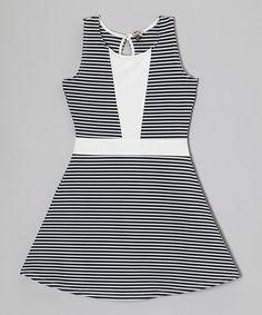 Eggwhite & Black Stripe Dress