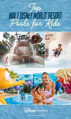 From wild waterslides to a pirate-themed oasis, our guide will help you find the best pool for your family's aquatic adventure. Disney Vacation Club, Walt Disney World Vacations, Disney Trips, Vacation Planner, Vacation Ideas, Disney Rewards, Disney Money, Disney World Water Parks, Resorts For Kids