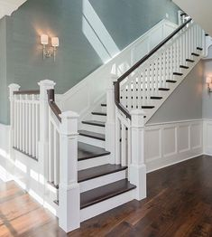Gorgeous staircase with dark wood floors, bright white trim, sea blue textured wallpaper