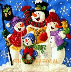 Vtg 2008 Bucilla Snowmen Christmas Greeting Card Holder Felt Kit 86115 for sale online Christmas Stocking Kits, Christmas Wood, Christmas Pictures, Christmas Snowman, Christmas Projects, Christmas Ornaments, Felt Snowman, Snowman Crafts, Felt Crafts