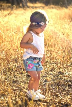 Studded Wildflower Shorts. Little girl fashion