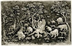 Woodland scene with Orpheus playing to the animals;  he sits under a tree with a peacock on its bough, playing a lute surrounded by animals and birds, including a rhinoceros, an elephant, a crocodile, a lion and a bear  Etching with extensive biting of the plate