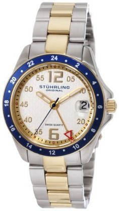Stuhrling Original Women's 290.122U22 Aquadiver Regatta Galleon Swiss Quartz Date Two Tone Bracelet Watch Stuhrling Original. $83.00. Brushed and polished two tone link bracelet with deployant clasp. Protective Krysterna crystal with designed case back. Brushed and polished stainless steel case with yellow gold layered bezel. Water-resistant to 165 feet (50 M). Silver designed dial with goldtone markers and date window