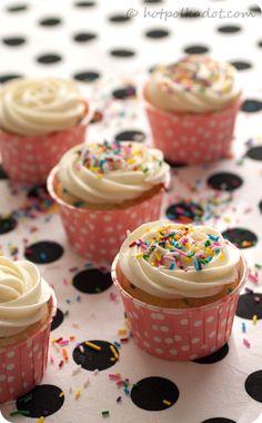 Double Cream Cheese Funfetti Cupcakes via @Lindsey {Hot Polka Dot}