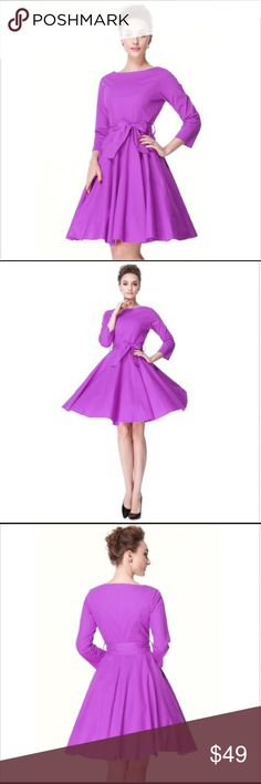 """NWT Purple Retro Vintage 40s 50s Glamour Dress Stunning fitted Classic dress, 3/4 sleeves, boatneck, knee length, fabric self tie belt, concealed back zipper.  97% cotton/3% spandex,  Unlined.  Size XS:  0-2, bust 31.75"""", waist 24.5,"""", length 41.75"""".   Model is wearing petticoat not included. Dresses"""