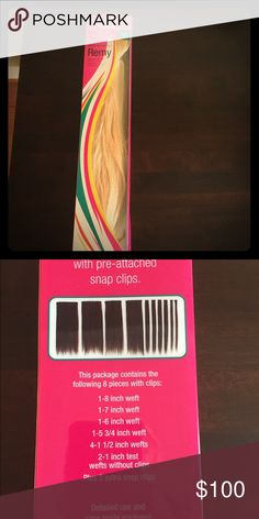 """18"""" clip in hair extensions Remy 18"""" cool blonde clip in hair extensions. Bought wrong color; store does not accept returns in hair extensions. Never worn- brand new! Still in box. Paid $140. Will accept offers. Accessories Hair Accessories"""