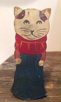 Antique Cat Squeak Toy/1900 - 1909/Old Cat Pipsqueak with Advertising Label on back.