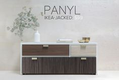 PANYL is a company that makes flexible, self-adhesive vinyl film that is pre-cut to the dimensions of specific IKEA furniture models. You can customize your IKEA furniture using dozens of different vinyl finishes, from bright pink to wood grain to aluminum
