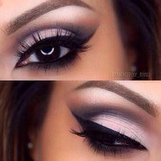 White & black matte smokey eye glam makeup