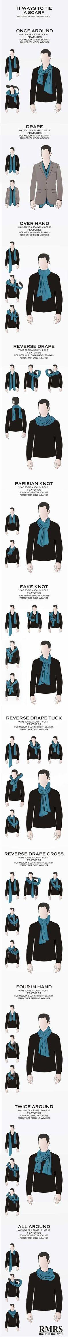 Infografía con 11 maneras de usar una bufanda (hombres) – Traxxo