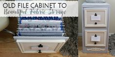 Looking for a way to store all those pieces of fabric youve been collecting? Well it ends up a 2 drawer file cabinet might be the answer to your problems! Crafts With Glass Jars, 2 Drawer File Cabinet, Storage Sets, Cabinet Makeover, Fabric Storage, Diy Bed, Bottle Crafts, Wall Art Designs, Room Organization