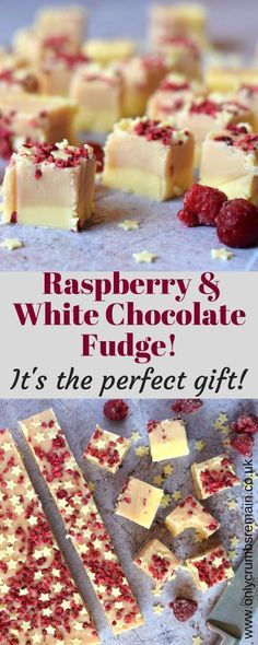 Homemade Raspberry and White Chocolate Fudge, with its pretty colour contrast and classic flavour combo, is perfect as a gift for loved ones or offered as party nibbles. Candy Recipes, Sweet Recipes, Baking Recipes, Dessert Recipes, Yummy Treats, Delicious Desserts, Sweet Treats, Yummy Food, Tasty