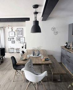 Inspired Spaces | Dining Room | Reclaimed Wood Table | Reclaimed Wood Bench | Black Pendant Light