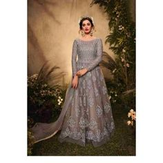 Buy Gowns - Discover the wide range of designer gowns online Silver Gown, Floor Length Gown, Gowns Online, Designer Gowns, Festival Party, Range, Embroidery, Chic, Shopping
