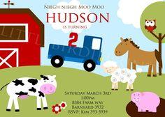 BOY FARM Birthday INVITATION with Little Blue Truck, Horse, Cow, Sheep, Owl and Pig.. $15.00 USD, via Etsy.