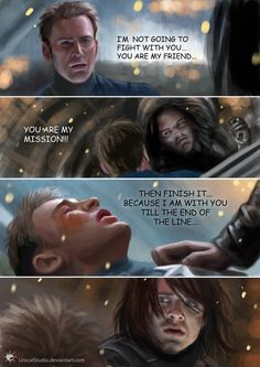 digital painting (digital speed painting really. h per one part, total: Captain America and Winter Soldier. Till the end of the line Marvel Quotes, Marvel Memes, Marvel Avengers, Marvel Comics, Bucky Barnes, Chris Evans, Captain America And Bucky, End Of The Line, Bucky And Steve