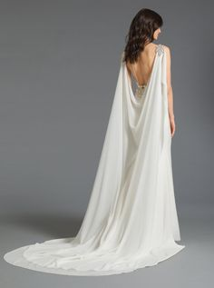 Style 2902 Laura Tara Keely by Lazaro bridal gown - Ivory crepe trumpet bridal g. - Style 2902 Laura Tara Keely by Lazaro bridal gown – Ivory crepe trumpet bridal gown with empire c - Greek Wedding Dresses, Plain Wedding Dress, Wedding Dress Pictures, Wedding Dress Cape, Goddess Wedding Dresses, Viking Wedding Dress, Luxury Wedding Dress, Egyptian Wedding Dress, Mermaid Bridal Gowns