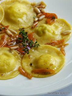 grain de sel - salzkorn: Vive l'italie: Ziegenfrischkäse-Ravioli mit Zitronenthymian und Kumquat