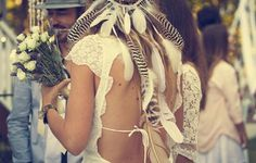 Hippie Chic Natural Unpretentious indigenous inspired feathers lace