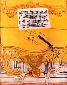 The Yellow Console with a Violin, 1949-Raoul Dufy - by style - Naïve Art (Primitivism)