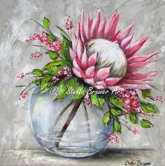 Art by Stella Bruwer Protea Art, Protea Flower, Fabric Artwork, Fabric Painting, Watercolor Flowers, Watercolor Paintings, Stella Art, Polychromos, Acrylic Art