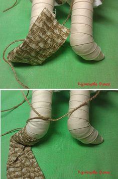 4. Работаем с пяточкой. Веревочку свободно переплетаем на голени куклы, со стороны пяточки, без узла.