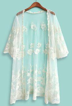 Beige Half Sleeve Embroidery Lace Cardigan - Sheinside.com ($24.43)