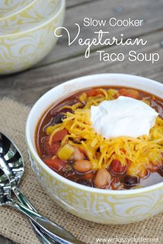 Slow Cooker Vegetarian Taco Soup Recipe - www.classyclutter.net