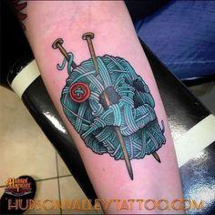 Knit Skull (Shish @ Hudson Valley Tattoo Company in NY) Japanese tattoo sleeve Knitting Tattoo, Yarn Tattoo, Crochet Tattoo, Tattoo Art, Knitting Yarn, Japanese Dragon Tattoos, Japanese Sleeve Tattoos, Dope Tattoos, Skull Tattoos
