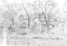 House by the Tees - pencil sketch by Malcolm Coils Barnard Castle, Sketch, Pencil, Snow, Tees, House, Outdoor, Sketch Drawing, Outdoors