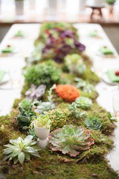 Mossy Succulent Garden Tablescape