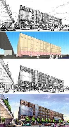 CSO Architects, Indianapolis. Pre design sketch by Bondy Studio. Process