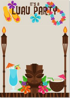 Customize Your Card Step 2- Hawaiian Luau Party Invitation by My Good Greetings