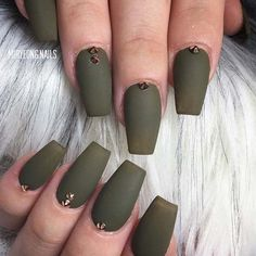 12 Must Have Matte Nail Designs for Fall: #3. MATTE KHAKI GREEN WITH EMBELLISHMENTS