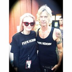 """Heroin killed three of my best friends growing up. Oh...how cool we thought that sh*t was...."" - Duff McKagan  Duff and his daughter Grace McKagan of The Pink Slips wearing The Force Clothing backstage at the Alice Cooper/Mötley Crüe show in Seattle, Washington 2014.    Clearly, he feels like we do: #notonemore"