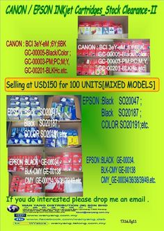 CANON : BCI 3eY-eM ;6Y;6BK  GC-00005-Black/Color ;  GC-00003-PM;PC;M;Y,  GC-00201-BLKHc.etc.  EPSON :Black SO20047 ;  Black SO20187 ;  COLOR SO20191;etc.  BLACK GE-00034.  BLK-CMY GE-00138  CMY_GE-00034/36/38/39/49.etc. Selling at USD150 for 100 UNITS[Mixed models]; [The price shown for Indication Only; Please call us for confirmation ] If you do … Mixed Models, Stock Clearance, Epson, Confirmation, The Unit, Black, Color, Black People, Colour