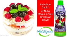 Power up your body in the morning with a nutrient dense breakfast full of superfood goodness! Simply add a capful of antioxidant-rich Nutri Maqui juice to a bowl of whole grain oats, fresh berries, and plain Greek yogurt. The result is a tasty breakfast t