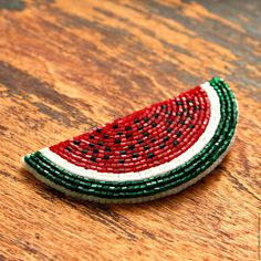 "Brooch handmade. Fair Masters - handmade. Buy Beaded Brooch ""Watermelon slice"". Handmade. Vermilion"