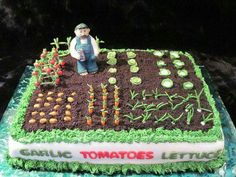 This is identical to the garden cake my daughter Jessica made when she was about ten years old. Cupcake Cookies, Cupcakes, Allotment Cake, Vegetable Garden Cake, Dad Cake, Garden Cakes, Creative Cakes, Custom Cakes, Themed Cakes