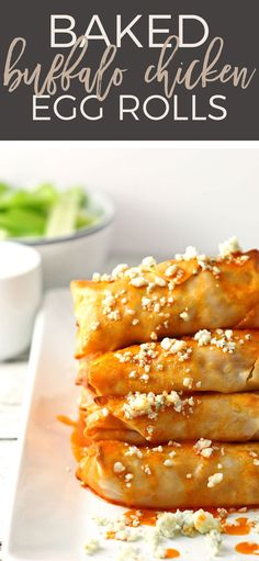 These baked buffalo chicken egg rolls are great as an appetizer or lunch! Pair them with blue cheese dressing and extra buffalo sauce! If you're looking for game day recipes, this is the perfect appetizer! | honeyandbirch.com | game day | football | ideas | for a crowd | party | food | tailgating | super bowl | easy | classic | best