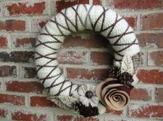 Rustic Wreath. Yarn   Felt by pnbodrick by Emel