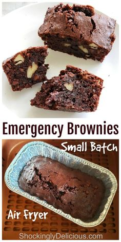 Small Batch Emergency Brownies makes 4 brownies -- just enough to share with someone else -- in the air fryer, so you don't heat up the whole kitchen. These deliciously fix any chocolate emergency that needs solving. #shockinglydelicious #brownierecipe #airfryerbrownies #smallbatch