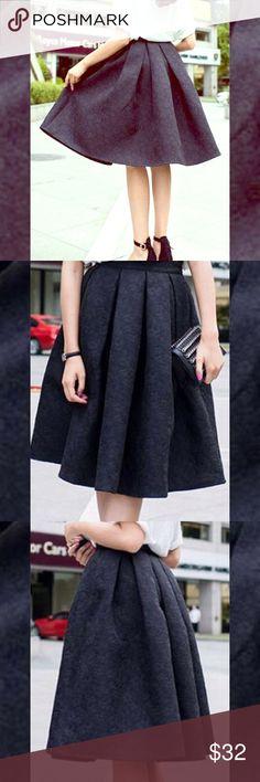 "Black brocade skirt Classic vintage inspired black brocade midi pleated A line full skirt. Measurements size XS waist 25"", SMALL waist 27"" length 25.5"" Skirts Midi"