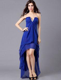 ❀ Sexy A Line V Neck Blue Cocktail Party Dresses | Riccol ❤