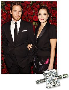 Drew Barrymore's art-consultant boyfriend, Will Kopelman, proposed in 2012 while vacationing in Sun Valley, Idaho, with a nearly 4-carat radiant-cut ring by Graff Diamonds.