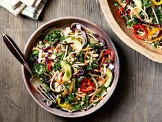 Ree Drummond's Asian Noodle Salad Recipe from Food Network - this would be VERY easy to make gluten free, just sub the noodles and use gluten free soy sauce!