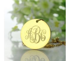Disc Engraved Monogram Necklace in Gold Plated BK20