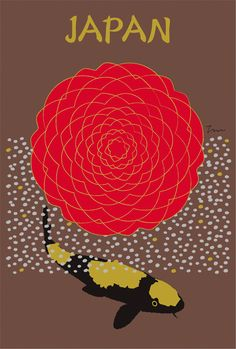 "It is the postcard which Japanese designer & illustrator ""Toshinori Mori"" designed under the theme of Japan. The flower is Camellia malocoides."