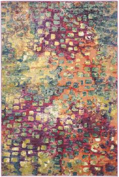 Safavieh Monaco Collection Modern Boho Abstract Watercolor Area Rug, x Pink/Multi Synthetic Rugs, Berber, Yellow Area Rugs, Transitional Decor, Transitional Kitchen, Area Rug Sizes, Rug Material, Vintage Design, Abstract Styles